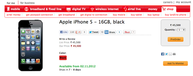 Airtel begins pre-orders of 16GB iPhone 5 in India for Rs. 45,500