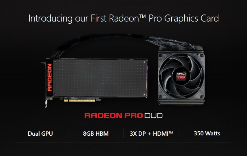 AMD Launches $1,500 Radeon Pro Duo Graphics Card for VR Content Creation