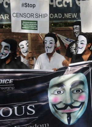 'Anonymous' hackers protest over India Internet laws