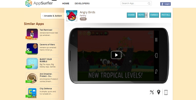AppSurfer adds support for tablet apps, allows users to try Android apps in their web browser