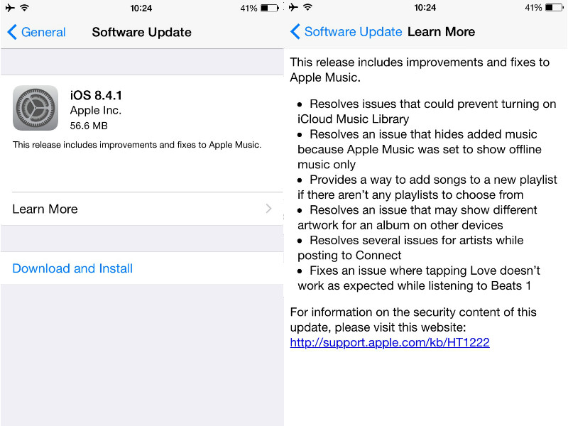 iOS 8.4.1 Now Available for Download; Fixes Several Apple Music Bugs