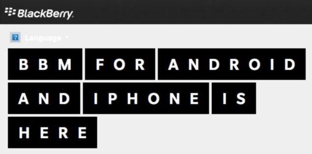 BlackBerry landing page featuring BBM for iPhone and Android spotted online
