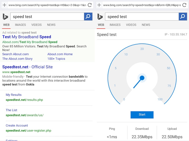 Microsoft Experiments With Showing Network Speed Test