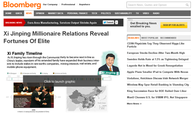 Bloomberg sites blocked in China days after Xi family wealth story