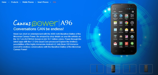 Micromax Canvas Power with 4000mAh battery, Android 4.1 listed on company site