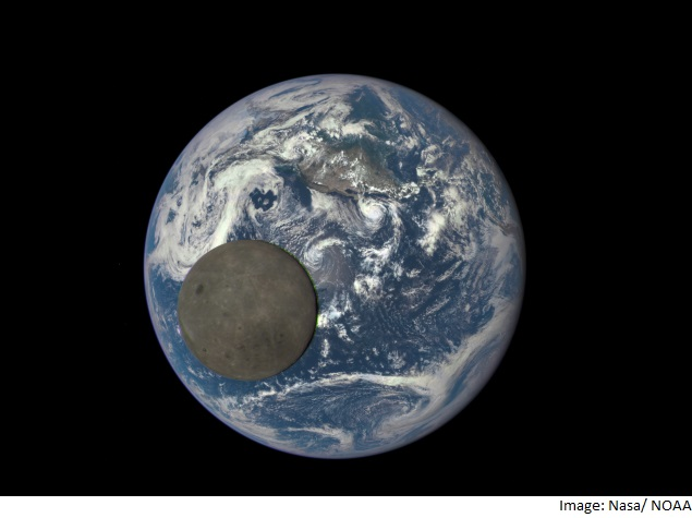 Nasa Camera Shows Moon Passing in Front of the Earth