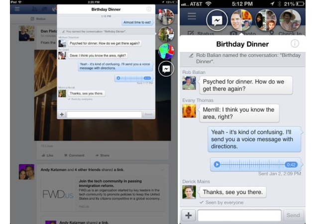 Facebook brings Home's 'chat heads' to iPhone, iPad