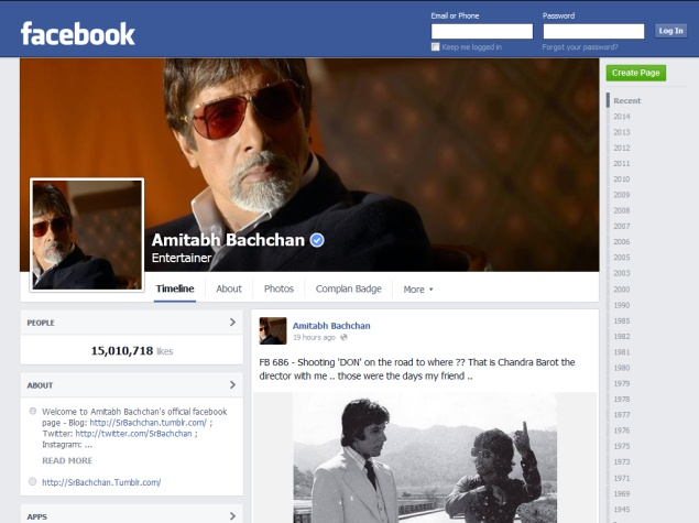 Amitabh Bachchan's Facebook Page Crosses 15 Million Likes