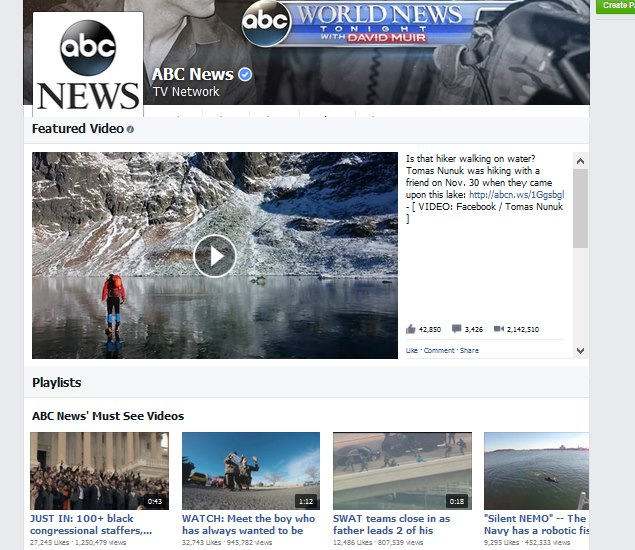 Facebook testing youtube like video section for pages for News section design