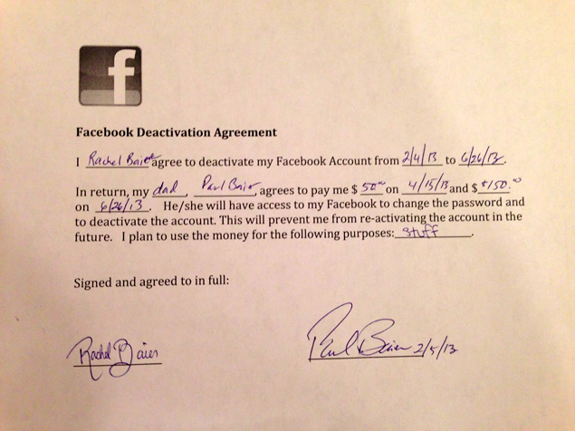 Father-daughter enter $200 agreement to keep her off Facebook