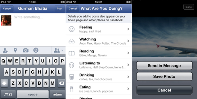 Facebook app update for iOS adds status update icons