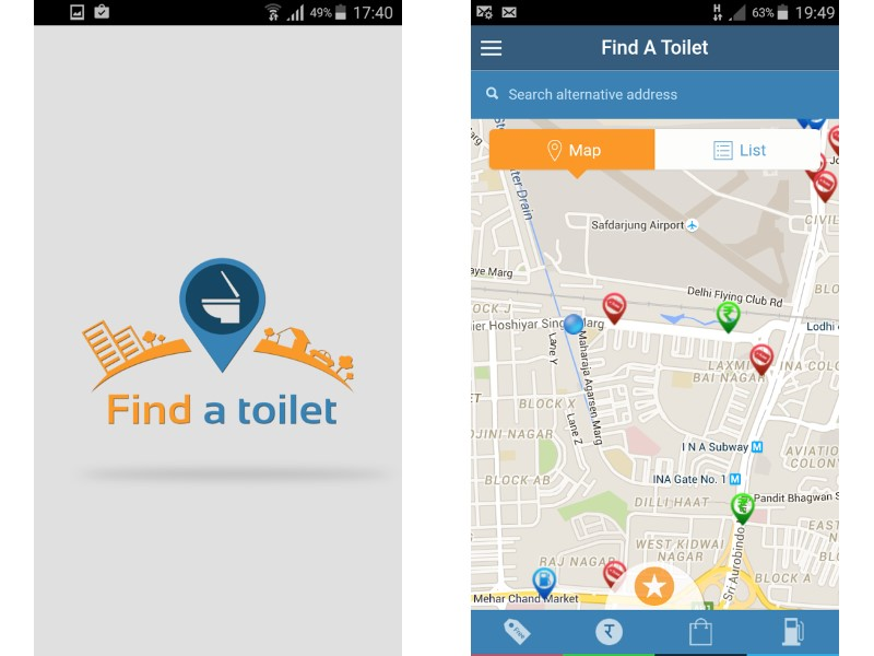 Swachh bharat new app helps locate public toilets in for Best bathroom finder app