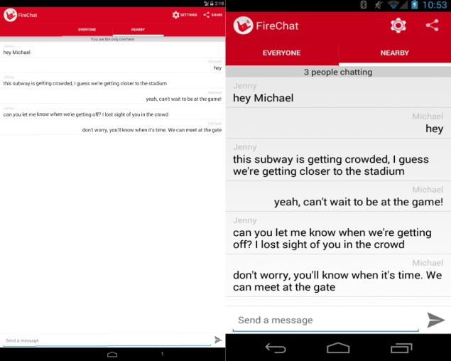 FireChat for Android launched, lets users chat without a data connection