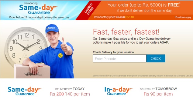 Flipkart introduces same-day guaranteed delivery in select cities