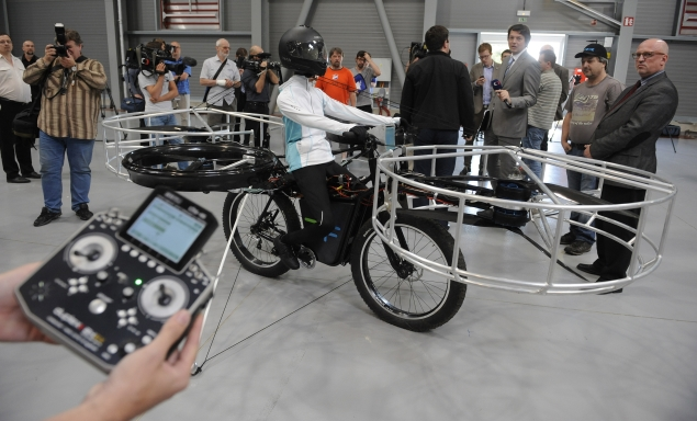 Is it a bird? Is it a plane? It's a battery-powered flying bicycle