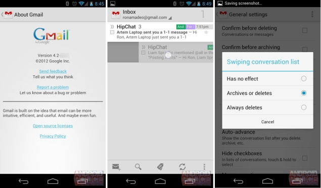 Gmail 4.2 app for Android leaks; shows pinch-to-zoom, swipe support