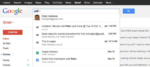 Google experiments with Drive and Calendar search results in Gmail