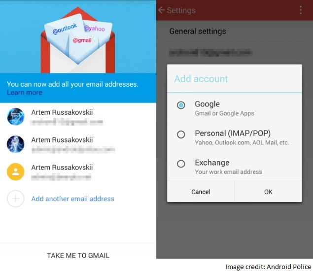 android gmail app add imap account