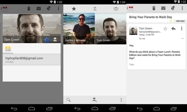 Gmail updated with Starred Contacts feature, syncs with Android Favourites