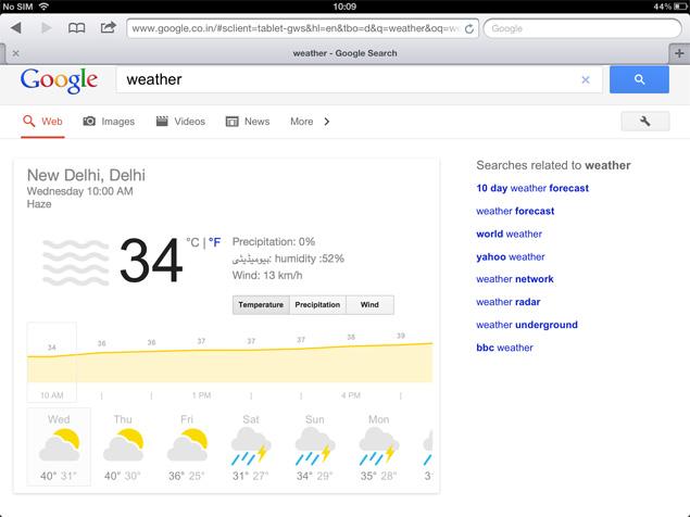 Miraculous Google Search For Tablets Gets A Weather Widget Technology Beutiful Home Inspiration Semekurdistantinfo