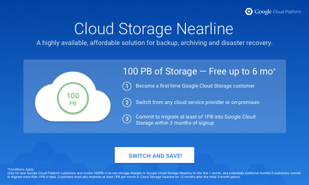 Google Cloud Storage Nearline Now Available To All Offers 100pb Free Technology News