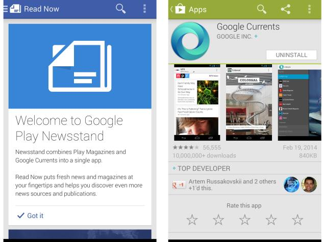 Google Currents app shut down, users redirected to Google Play Newsstand