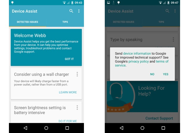 Google Launches Device Assist for Nexus, Android One, and GPE Devices