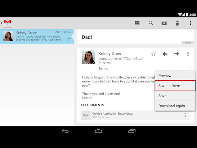 Gmail for iOS Gets Insert and Save to Drive Features, and More
