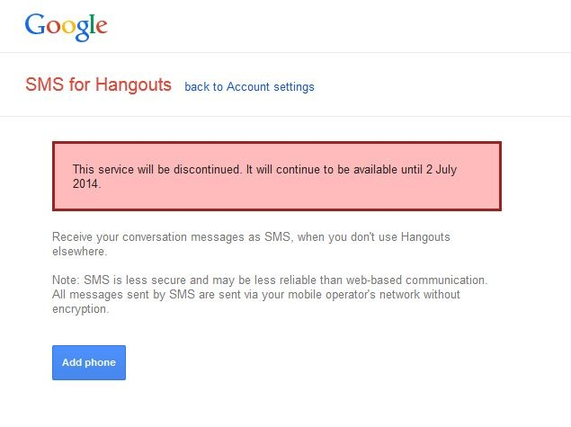 Google Discontinues SMS for Hangouts; Might Integrate Google Voice Soon