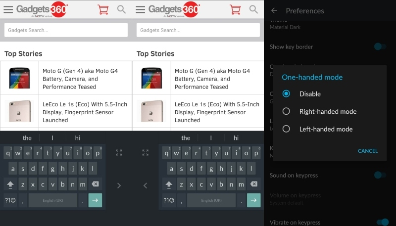 Google Keyboard for Android Gets One-Handed Mode and More