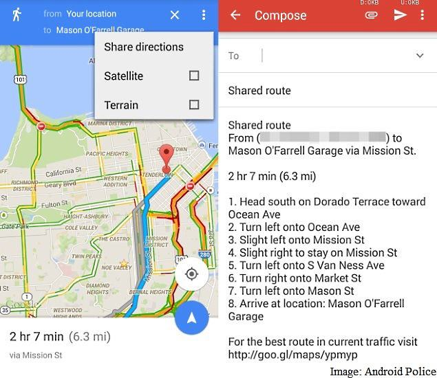Google Maps App Updated With Direction Sharing and More ... on google maps update, google maps screenshot, google maps path,