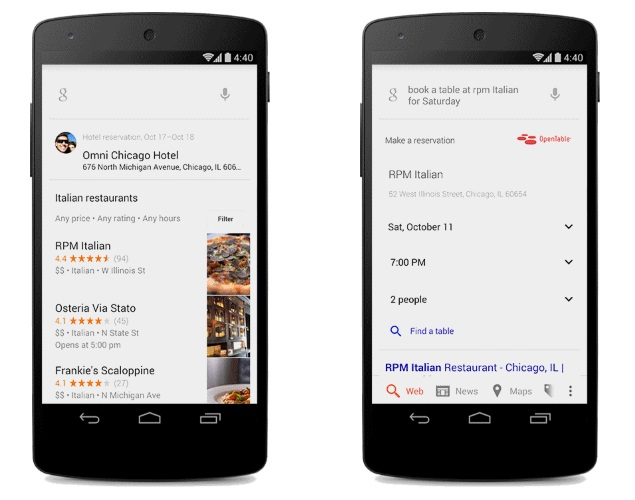 Google Search Gets Better Conversation Skills OpenTable Integration - Google open table