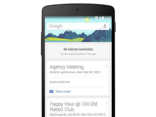 Google Now Cards on Android Now Available for Offline Use