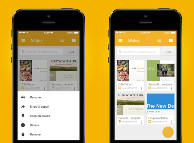 google releases slides app for ios updates docs and sheets