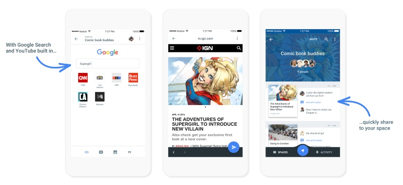 Google Spaces Social Sharing App Launched