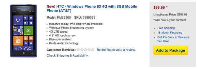 Nokia Lumia 920, HTC 8X US prices revealed