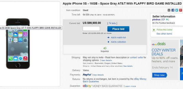 Used iPhone 5s with Flappy Bird installed going for $100,000 on eBay