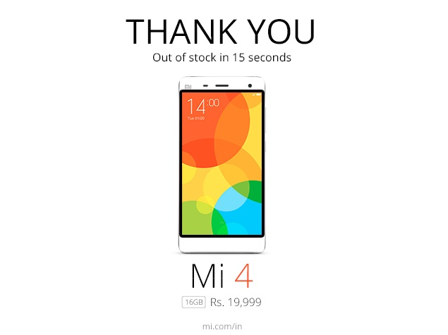 Xiaomi Mi 4 First Flash Sale Sees 25,000 Units Go Out of Stock in 15 Seconds