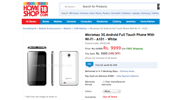 5.2-inch Micromax A101 Android phone appears online for Rs. 9,999