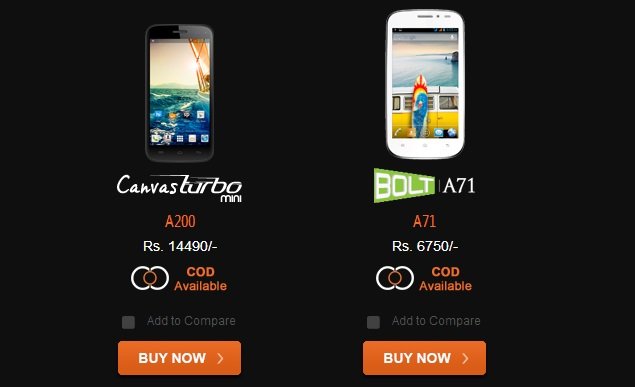 Micromax Canvas Turbo Mini and Bolt A71 launched in India