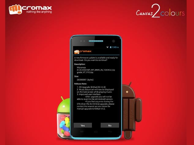 Micromax Canvas 2 Colours Receiving Android 4 4 2 KitKat