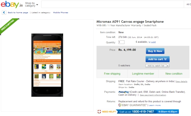 Micromax Canvas Engage With Android 4.4 KitKat Available Online at Rs. 6,199