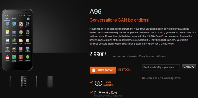 Micromax Canvas Power with 4000mAh battery, Android 4.1 launched at Rs. 9,900