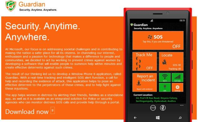 Microsoft launches Guardian safety app for Windows Phone users in India