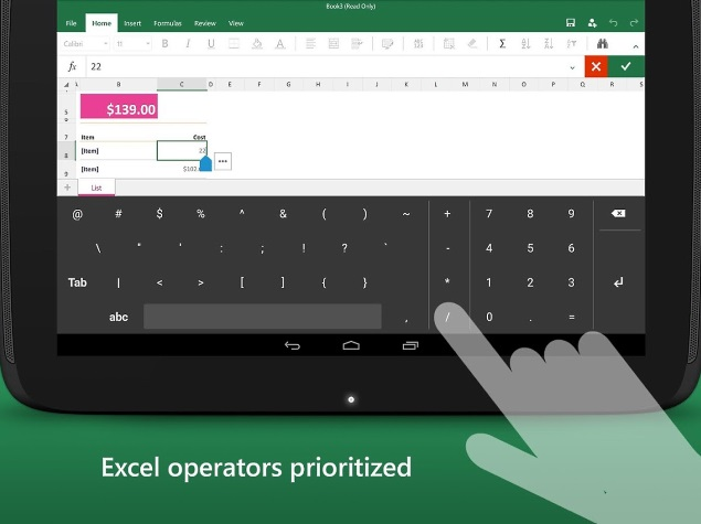 Microsoft Launches 'Keyboard for Excel' App for Android Tablets