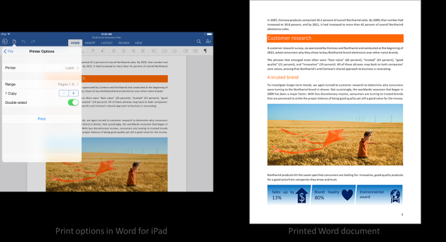 Microsoft Office for iPad updated with printing and other new features