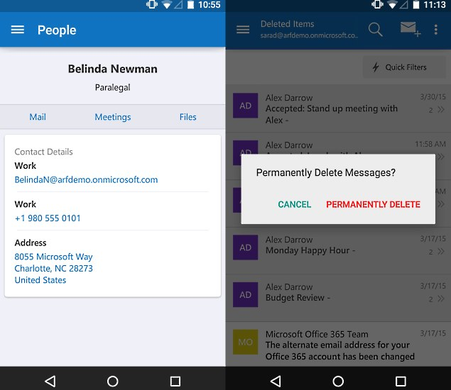 outlook update for android and ios adds unified address book and