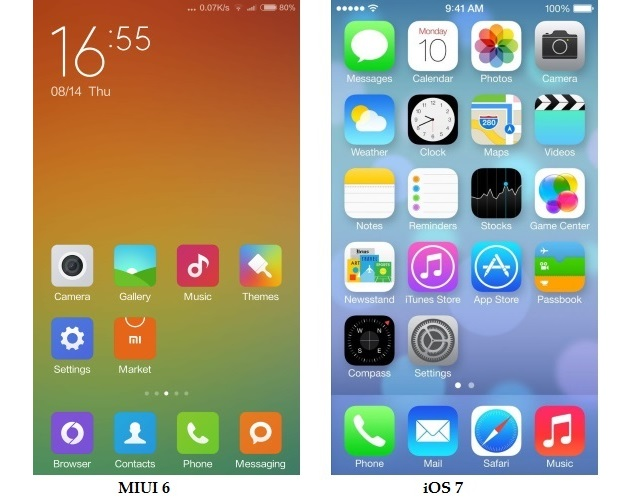 Xiaomi unveils miui 6 android ui that looks a lot like ios 7 miui6vsios7screenshots1comparisonndtvg stopboris Images