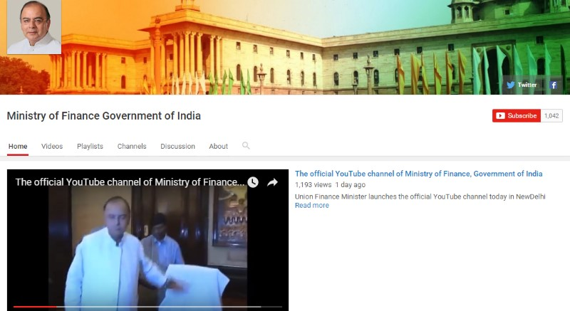 Finance Ministry's Official YouTube Channel Launched