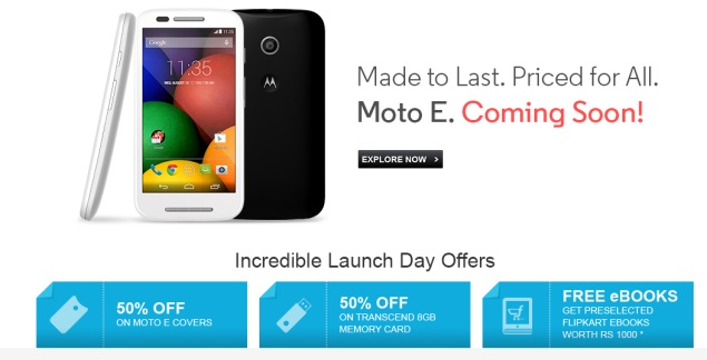Moto E Launch Day: Flipkart Offers 50 Percent Discount on